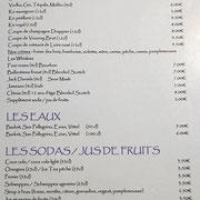 Apéritifs, eaux, jus de fruits ...