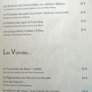 Carte (entrées & viandes)