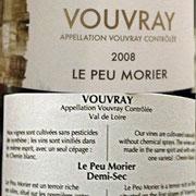 """Vouvray demi-sec """"Peu Morier"""" 2008"""