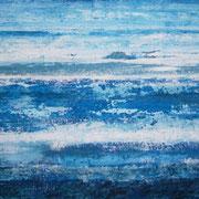 Erinnerung Blau I, Acryl auf Papier, ca. 60x80cm, Sandra Hosol