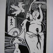 Ohne Hirn, Linolschnitt, ca. 21x30cm, Sandra Hosol