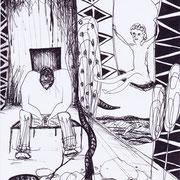 Kindheitserinnerung, Tinte auf Papier, ca. 15x21cm, Sandra Hosol