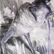Wer seinen Augen vertraut, kann auch eine Hummel auf zwei Beinen sehen, ca. 100x70cm, Malerei Sandra Hosol, 2009