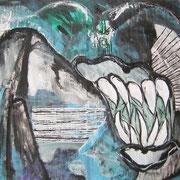 Götter blecken die Zähne, ca. 110x160cm, Malerei Sandra Hosol, 2008