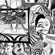 Von Masken und Marionetten, Tinte auf Papier, ca. 15x21cm, Sandra Hosol