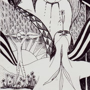 Aus der Trauer entsprungen, Tinte auf Papier, ca. 15x21cm, Sandra Hosol