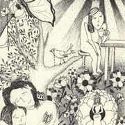 In Liebe gewachsen, Tinte auf Papier, ca. 15x21cm, Sandra Hosol