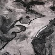 Der mit den Brauen ist kurios, ca. 160x110cm, Malerei Sandra Hosol, 2008