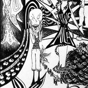 Gier, Tinte auf Papier, ca. 15x21cm, Sandra Hosol