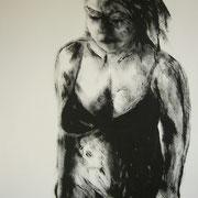 Frau ohne Schutz, Acryl auf Chromokarton, ca. 100x70cm, Sandra Hosol