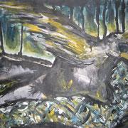 Der Hahn holt die Schlange in den Tod, Acryl auf Papier, ca. 30x40cm, Sandra Hosol
