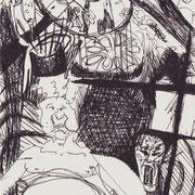 Der Teufel scheint im Detail zu stecken, Tinte auf Papier, ca. 15x21cm, Sandra Hosol