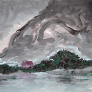 Im Winter, Acryl auf Papier, ca. 30x40cm, Sandra Hosol