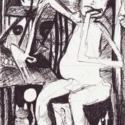 Die Verwunschene, Tinte auf Papier, ca. 15x21cm, Sandra Hosol