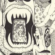 Aus dem Nest gefallen, Tinte auf Papier, ca. 15x21cm, Sandra Hosol