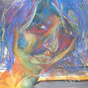 Zaghaft, Acryl auf Papier, ca. 40x50cm, Sandra Hosol