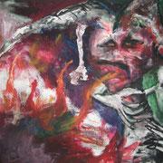 Nicht allein II, Acryl auf Papier, ca. 30x40cm, Sandra Hosol
