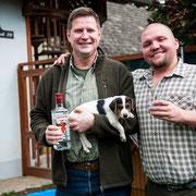 Beefeater mit seinem neuen Führer Jürgen, er wird für die Bau- und Schweißarbeit im Burgenland/Trausdorf eingesetzt werden