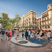 Paseo por La Rambla. Mosaico de Joan Miró. Barcelona
