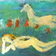 Женщина и лошодь. По воду. 100х130,х.м. 2007г. Сомова Наталия Вячеславовна.