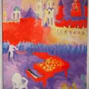 Красный рояль как тара для игрушек и очередь за горячими сосисками.