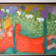Играющая пастушка и слушающие коровы.
