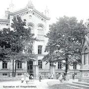 Aschersleben  1916  Gymnasium mit Kriegerdenkmal