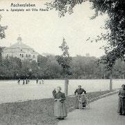 Aschersleben  1912  Sport u. Spielplatz mit Villa Albers