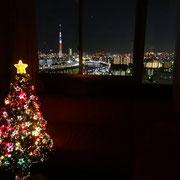 リビングに飾ったクリスマスツリー&東京スカイツリー