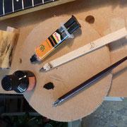 Préparation du mélange epoxy sciure