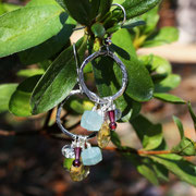 Sterling Hoops with Aquamarine, Garnet, Pearl, and Citrine  $40