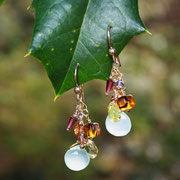 Chalcedony, Citrine, Sapphire, Garnet, Gold-filled Earwires  $49
