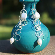 Freshwater Pearls dangle from cascading sterling silver chain and earwires  $45