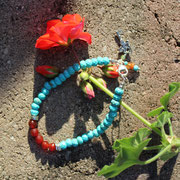 Turquoise, carnelian with sterling silver clasp  $45