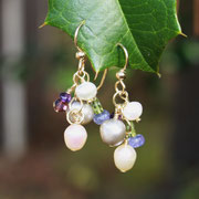 Classic Freshwater Pearls with Amethyst, Tanzanite, and Peridot on Gold Filled   $40