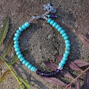 Turquoise, amethyst with sterling silver clasp $45