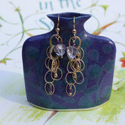 Gold-filled cascading chain with blue quartz and amethyst  $50