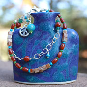 Double strand red jasper, turquoise, sterling silver  $45