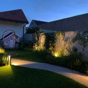 Beleuchtungskonzept Garten Innenhof Niederösterreich