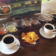 Coffee tasting at the Luwak coffee and spices plantation