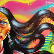 """Aparecida""  by Shalak.  Mixed media on canvas. 2011  (Sold to Private Collector - Sao Paulo, Brazil)"