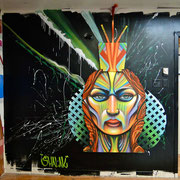 """""""Portrait"""" By Shalak, Spraypaint on wood and mixed media, 2013, created for mural installation at the Under Pressure Gallery in Montreal 2014. Currently on Exhibit at La Maison de Jeunes Cote-des-Neiges, Montreal, Canada (For Inquiries contact artist)"""