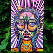 InnerIlluz Spiritmask By: Shalak.  Acrylic and magic jewel necklace on Canvas (30cm x 50cm) 2012. Available, please email Shalakattack@gmail.com to inquire more information.