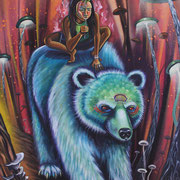 """""""Bear Princess"""", Spraypaint and Acrylic on Canvas, 2015. Available, please email Shalakattack@gmail.com to inquire more information."""