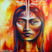 """Arézuu""  by Shalak, Acrylic on canvas (18''x18'') June 2011, Canada (Commissioned by Private Collector)"