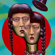 The Sisters Triptic III,  Spraypaint & Acrylic on Canvas,  10in x 8in. Available on my Online Art Store