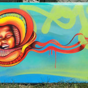 """""""Feliz"""" by Shalak. Spraypaint and acrylic on canvas.  July 2011  (Sold to Private Collector - Canada)"""