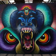 Animal Totem, Shalak, 10ft x 15ft, Spraypaint on Canvas, 2017 on Permanent Exhibit at the Street Art Today Museum in NDSM, Amsterdam, Holland