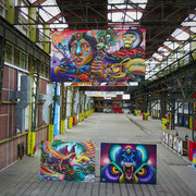 Shalak and Clandestinos Artwork in the Street Art Today Museum Creation Space, NDSM, Amsterdam, Holland