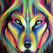 """Wolf"", Spraypaint and Acrylic on Canvas, 2015 (Sold to Private Collector - Seattle, USA)"